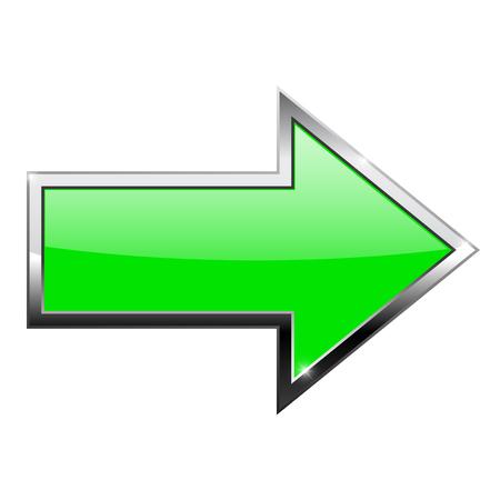 Zielona strzałka z odbiciem. Z chromowaną ramą. Ilustracja wektorowa na białym tle