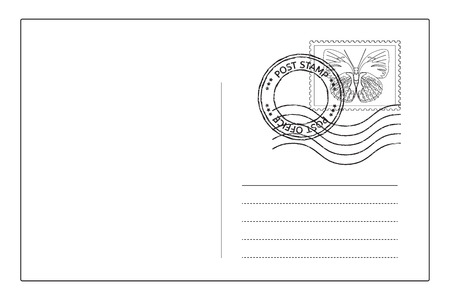 postcard background: Postcard reverse side with postal stamps. Vector illustration isolated on white background