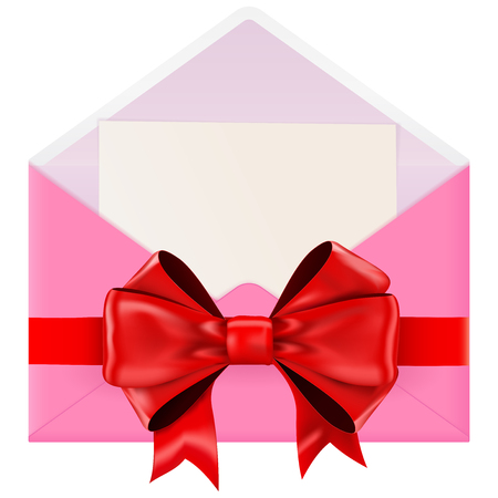 Pink envelope with ribbon bow. Vector illustration isolated on white background