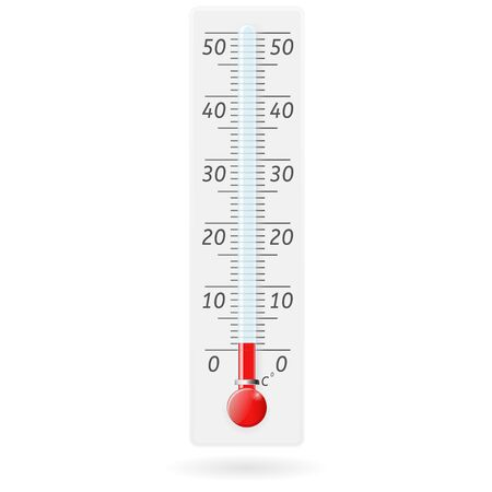 celsius: Thermometer. Celsius above zero value. Vector illustration isolated on white background