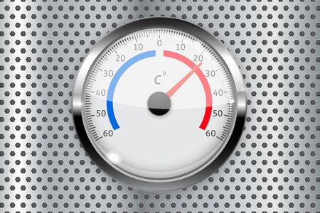 Thermometer with metal frame on perforated background. Illustration