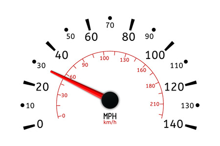 Speed meter in miles. illustration isolated on white background Illustration