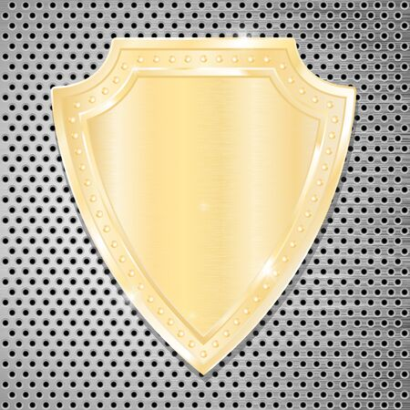 perforated: Golden shield on perforated background.