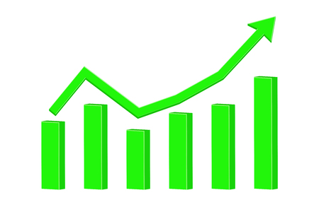 Financial statistic indication arrow. Up rising trend. Green. illustration isolated on white