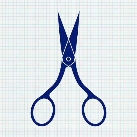 Nail scissors. Blue icon on notebook sheet grid. illustration