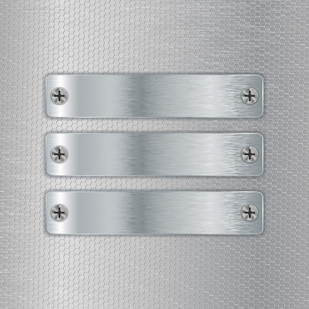 perforated: Metal plates screwed to perforated background. illustration Illustration