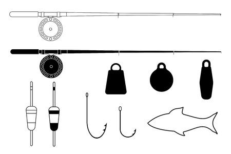 sinkers: Fishing tackle. Fishing rods, hooks, sinkers, floats. illustration isolated on white background Illustration