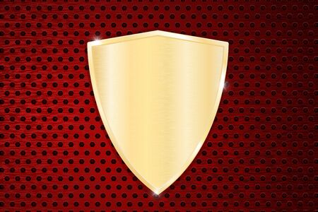 perforated: Golden shield on red perforated background.