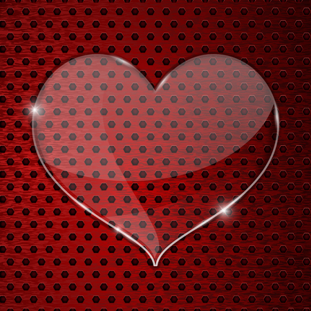 perforated: Heart glass plate on red perforated background