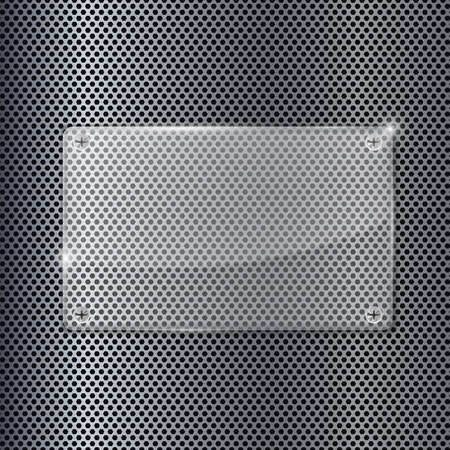 perforated: Transparent acrylic plate on metal perforated background Illustration