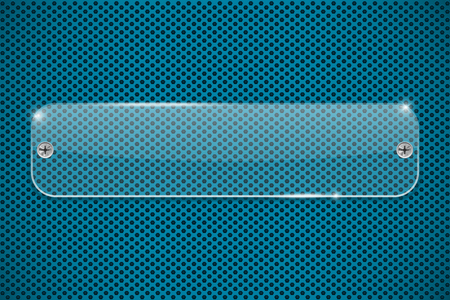 Transparent acrylic plate on blue perforated background