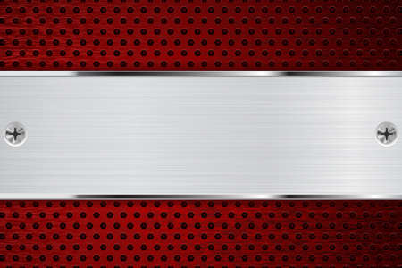 perforated: Metal background with red perforated section