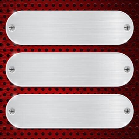 perforated: Metal plates on red perforated background