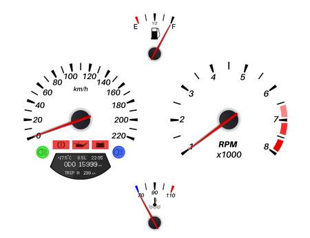 車のダッシュ ボードのサイン。スピード メーター、タコメーター、燃料および温度のゲージ  イラスト・ベクター素材