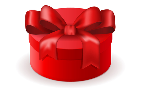 red gift box: Red round gift box. Decorated with silk ribbon bow