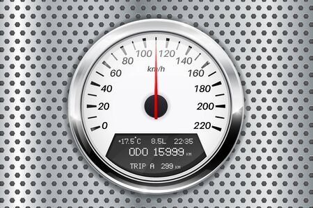 perforated: Speedometer. On metal perforated background