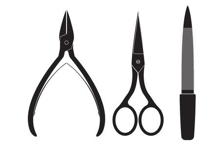 manicure set: Nail manicure set - nippers, scissors, file