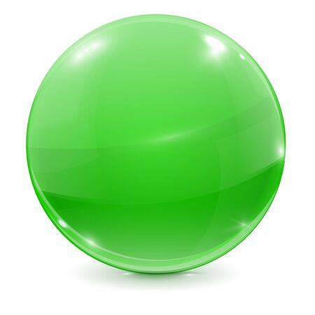 crystal button: Green glass ball. 3d shiny sphere