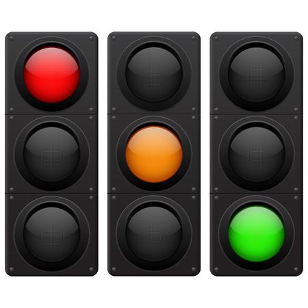 Traffic lights. Red, yellow, green lamp on Illustration