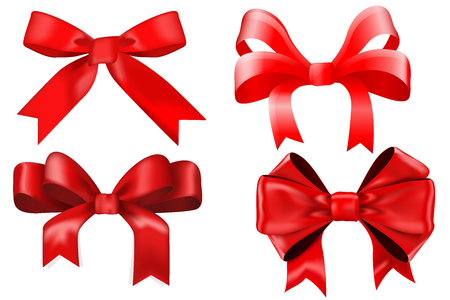 red gift box: Red ribbon bow. Gift box decoration