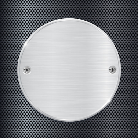 perforated: Metal round plate on perforated background Illustration