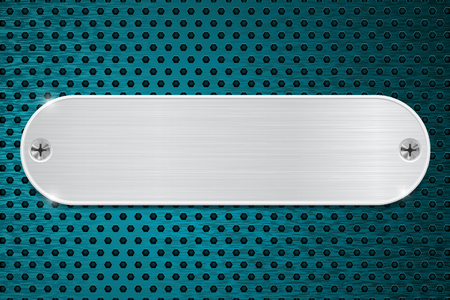 perforated: Metal plate on blue perforated background