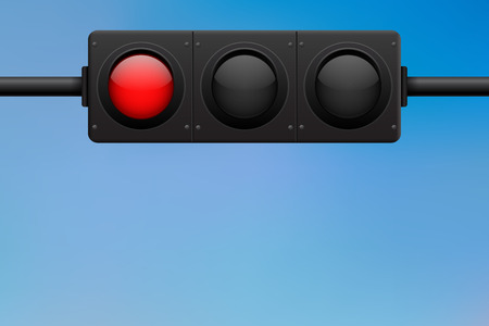 Traffic light. Horizontal located. Red lamp on Vectores