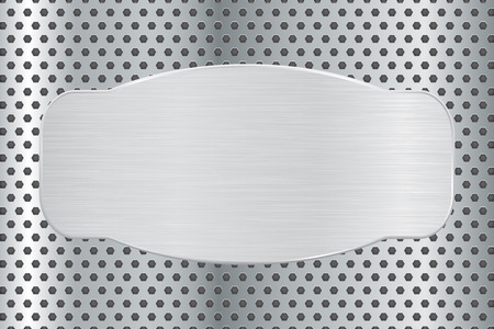 perforated: Metal plate on steel perforated background Illustration