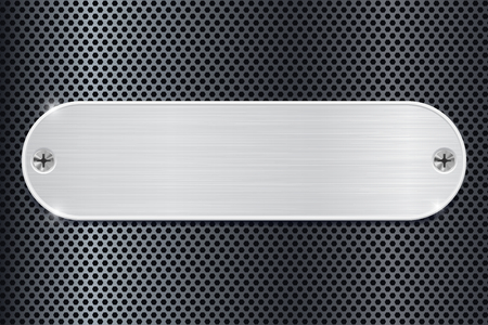 perforated: Metal plate on dark perforated background