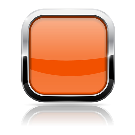 square buttons: Orange glass button with chrome frame