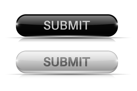 submit: Submit button. Black and white oval glass 3d icons