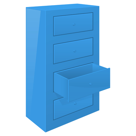 office cabinet: Office cabinet with open drawer blue furniture element.