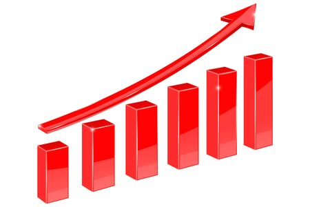 financial graph: Financial graph. Red up rising arrow