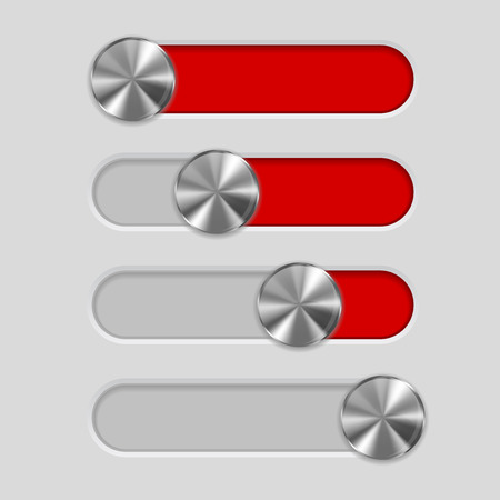Interface slider bar Red switch with metal button Illustration