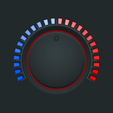 Switch round knob button. On dark plastic background. Vector illustration Ilustrace