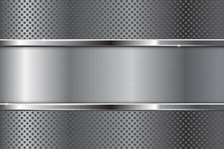 metal frame: Metal background. Brushed plate with chrome frame. Vector illustration