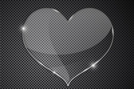 perforated: Heart transparent plate on metal perforated background Illustration