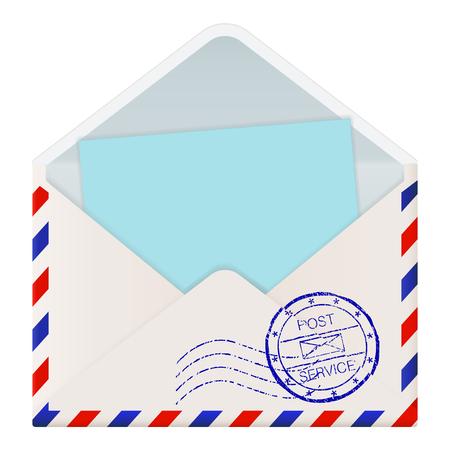 Open international mail envelope with blue paper inside Illustration