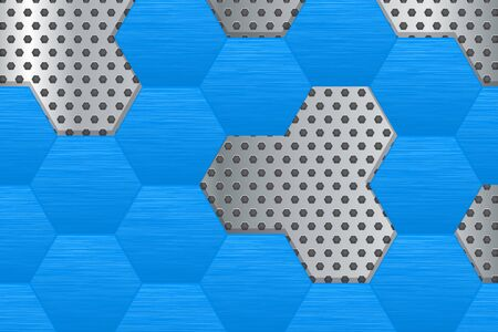 perforated: Metal perforated background with blue hexagons