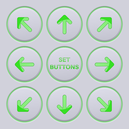 Arrows key set. Green icons on gray buttons