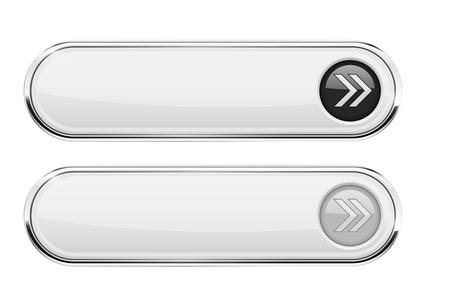 矢印の付いた白いボタン。通常、アクティブです。金属製のフレームを持つインターフェイス要素