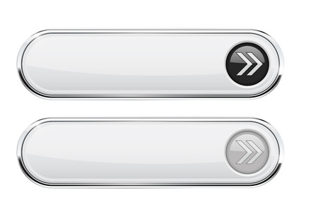 White buttons with arrows. Normal and active. Interface elements with metal frame