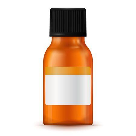 Brown medical bottle with blank label Illustration