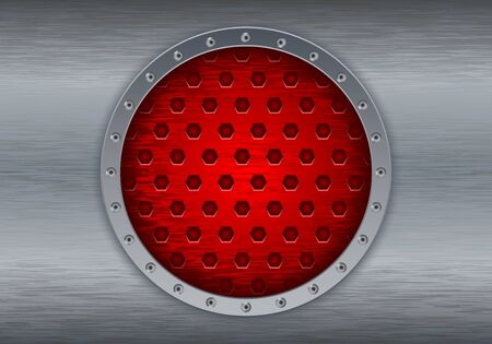 perforated: Metal brushed background with red perforated circle