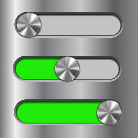 Metal interface slider. Green bar with round button Illustration