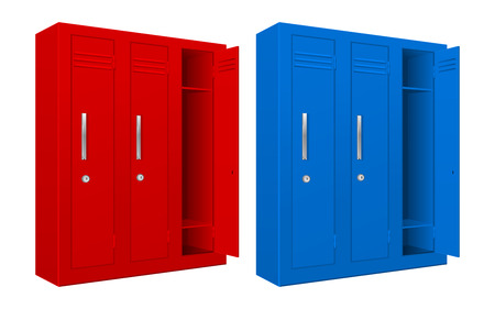 Red and blue school lockers Illustration