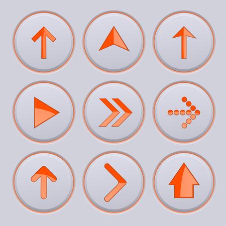 Orange arrow on gray buttons. 3d icons set Illustration