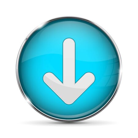 Blue DOWN button with white arrow. Shiny 3d icon with metal frame