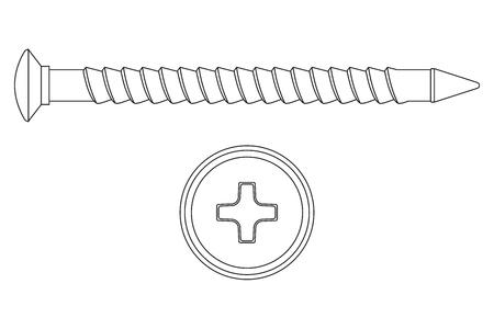 Screw. Outline icon. Phillips flat head