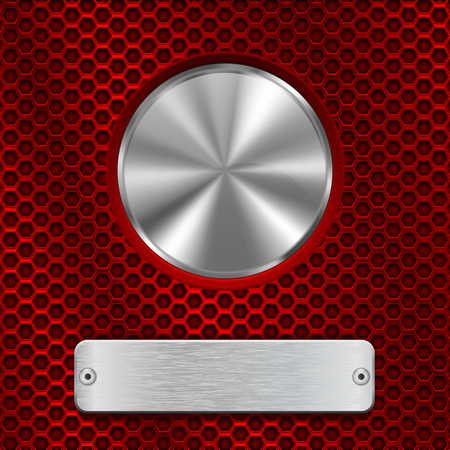 Metal round button and scratched rectangle plate on red perforated background